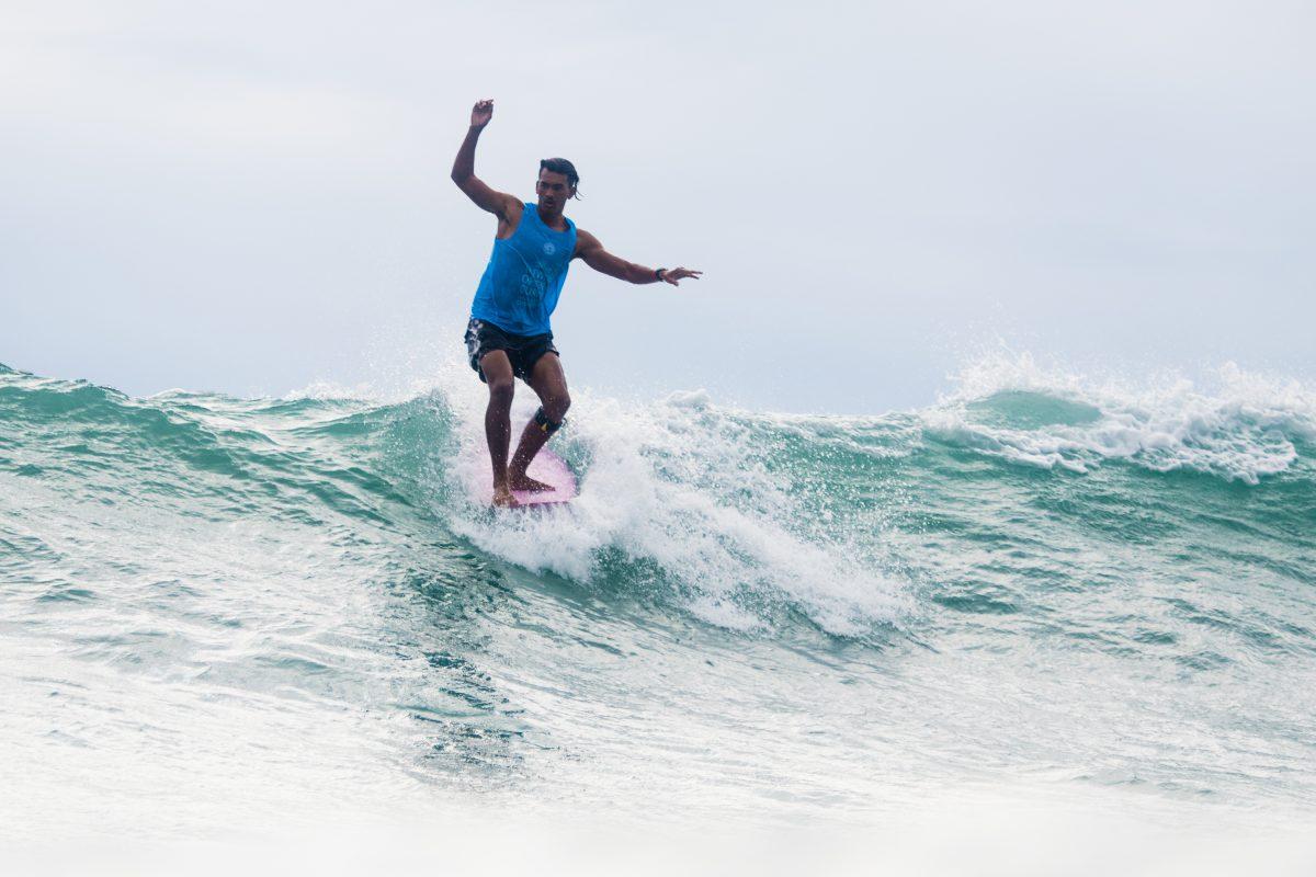 Pan Hai Hsin At the 2018 Taiwan Open Of Surfing World Longboard Championships.